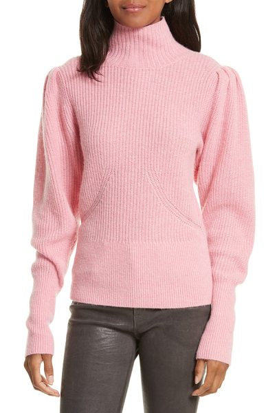 Frame wool & cashmere puff sleeve turtleneck sweater in spanish pink - A demure turtleneck and puffed long sleeves add...