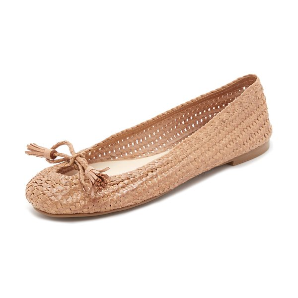 Frances Valentine Emma woven flats in tan - Tasseled ties close the front cutout on these woven...
