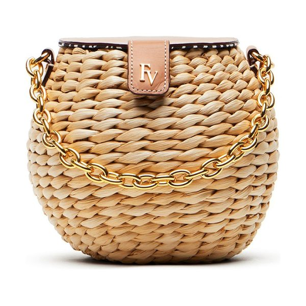 Frances Valentine mini woven bucket bag in natural - Woven cornhusk construction intensifies the earthy,...