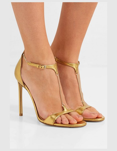 FRANCESCO RUSSO chain-embellished metallic leather sandals in gold