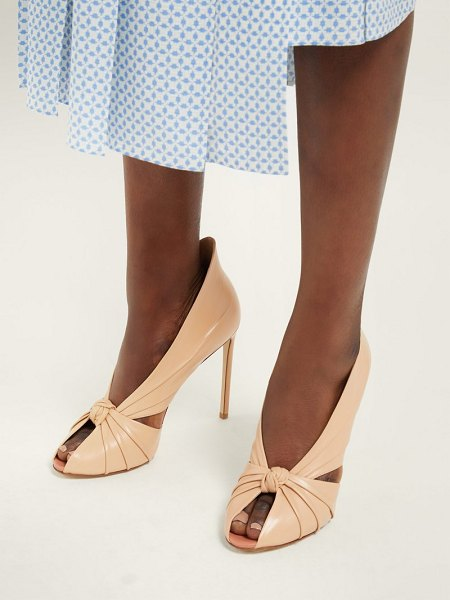 FRANCESCO RUSSO knotted leather peep toe pumps in nude
