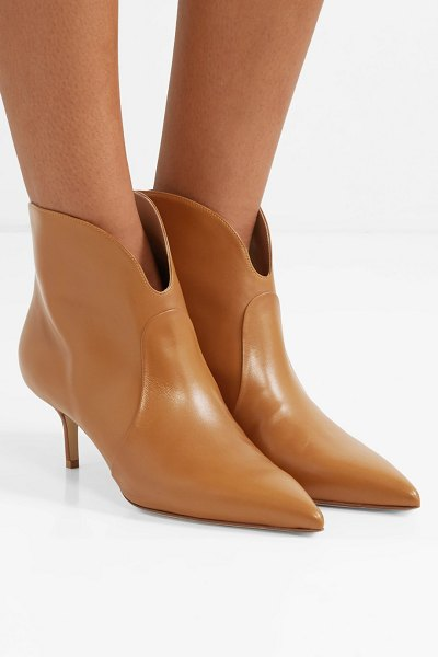 FRANCESCO RUSSO leather ankle boots in camel