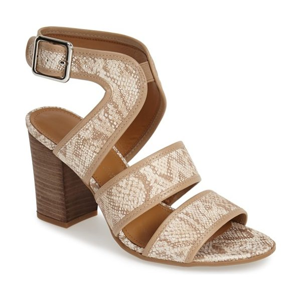 Franco Sarto mural sandal in natural snake - A stacked block heel finishes a sophisticated sandal...
