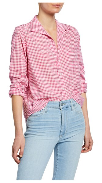 Frank & Eileen Barry Gingham Chambray Long-Sleeve Button-Down Shirt in pink