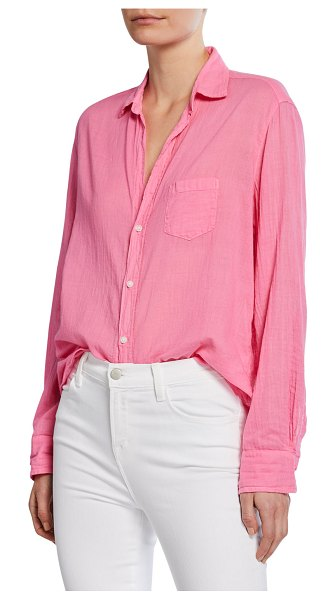 Frank & Eileen Eileen Tissue Color Italian Cotton Long-Sleeve Button-Down Shirt in pink