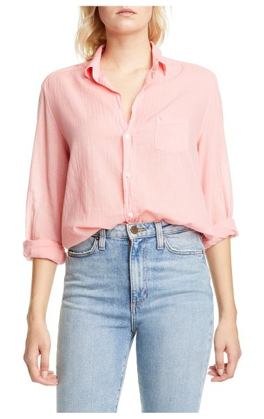 Frank & Eileen cotton voile button-up shirt in coral
