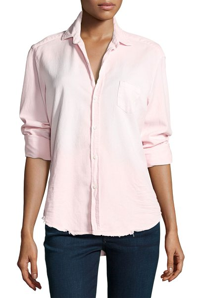 "Frank & Eileen Eileen Long-Sleeve Distressed Italian Denim Shirt in pink - Frank & Eileen ""Eileen"" shirt in distressed Italian..."