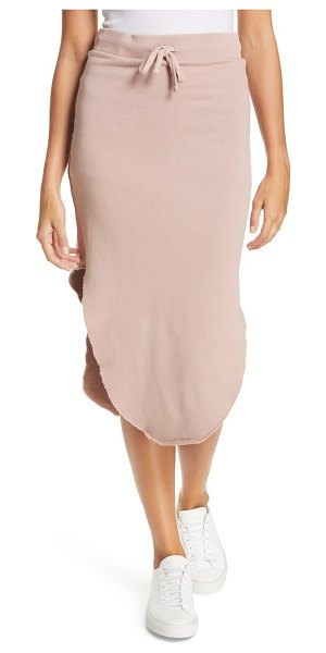 Frank & Eileen frank and eileen raw hem fleece midi skirt in pink