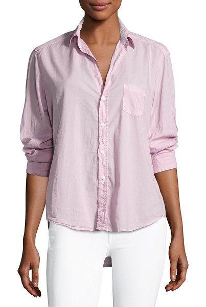 "Frank & Eileen Long-Sleeve Button-Front Cotton Shirt in pink - Frank & Eileen ""Eileen"" cotton shirt. Approx. length:..."