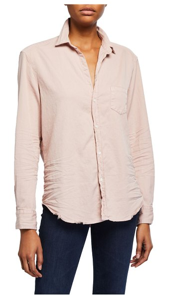 Frank & Eileen Long-Sleeve Cotton Button-Down Top in dusty pink tatter