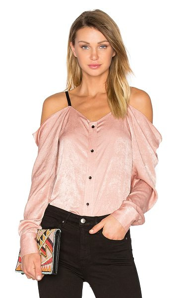 Frankie Satin Off The Shoulder Top in blush - 100% poly. Dry clean only. Front button closure....