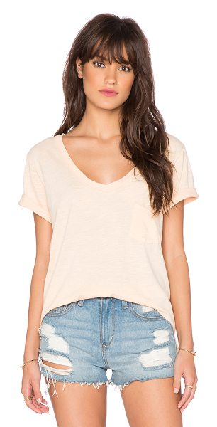 FREE PEOPLE 757 tee - 100% cotton. Semi-sheer. Chest pocket. Raw cut edges....