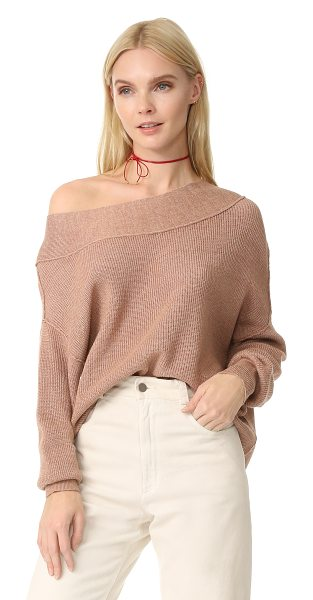 Free People alana sweater in beige - Fine-knit banding trims the wide neckline and cuffs on...