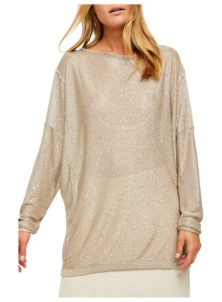 Free People all that glitters backless long sleeve sweater in beige