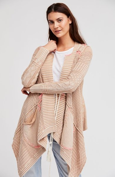 Free People all washed out cardigan in sand - A tasseled tie fastens this billowy cardigan constructed...
