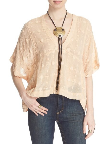 Free People amber skies cotton blouse in peach