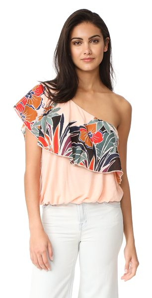 Free People annika bubble top in peach - An airy Free People top with cutwork floral appliqués at...