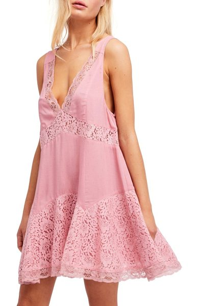 Free People any party slipdress in mauve - Dainty lace and a fine print romance this flowy trapeze...