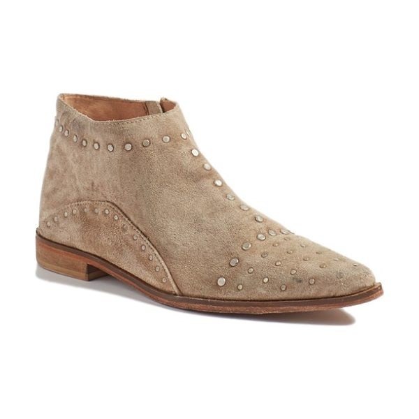 Free People 'aquarian' bootie in taupe suede - Weathered studs amplify the cool Western effect of a...