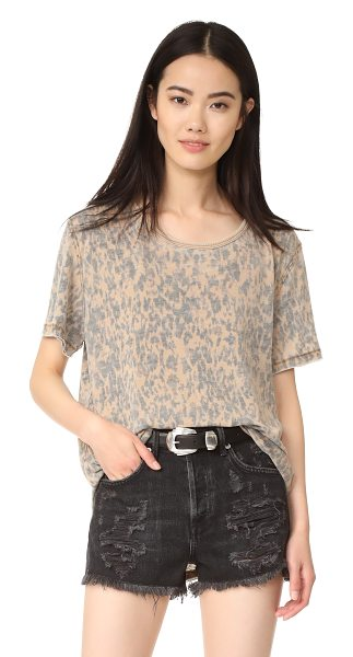 Free People army tee in brown - A leopard-print Free People tee in a relaxed silhouette....