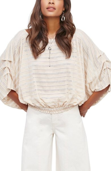 Free People azelea crochet & stripe top in cream - Lines of openwork crochet capture the ocean's breeze as...