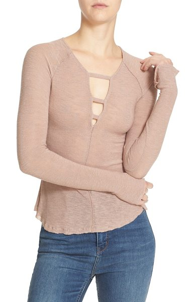 Free People 'bae bae' slub knit long sleeve top in nude - Slender straps highlight the deep V-neckline of a...
