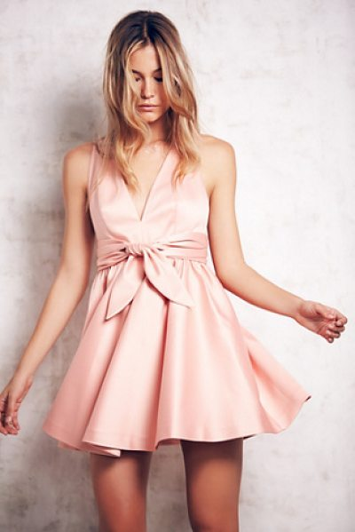Free People Beck deep v dress in rose