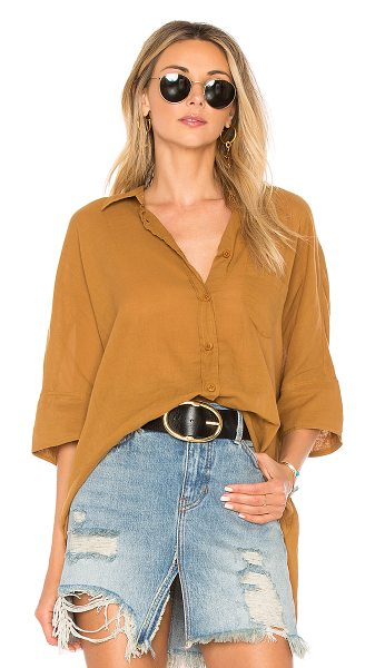 Free People Best Of Me Top in tan - 100% cotton. Button front closure. Breast pocket....