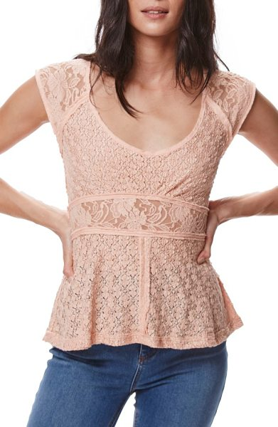 Free People besties lace tee in coral - Deconstructed and ladylike, this lacy fitted tee has...