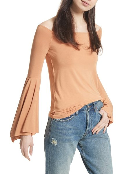Free People birds of paradise off the shoulder top in beige - Channel groovy '60s style in a stretchy off-the-shoulder...
