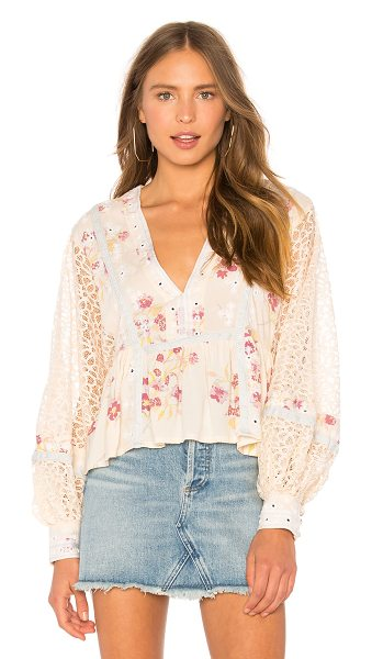 Free People Boogie All Night Blouse in cream - Self: 100% rayonLace% 100% poly. Sheer lace panels....