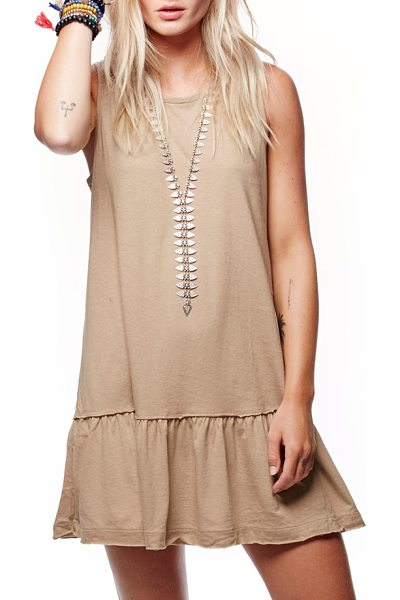 Free People brittany peplum tunic in stone - Perfect for the spring, this breezy tunic has a feminine...