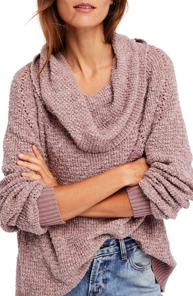 Free People by your side sweater in mauve - Slubbed cotton-blend yarns create the rustic texture of...