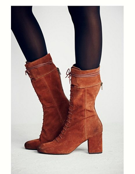 FREE PEOPLE Cantrell lace-up boot - Victorian-inspired distressed suede lace-up boots with...