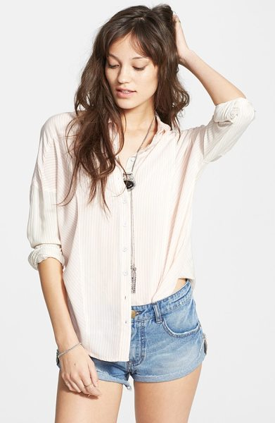 Free People cape town colorblock stripe button front blouse in peach combo