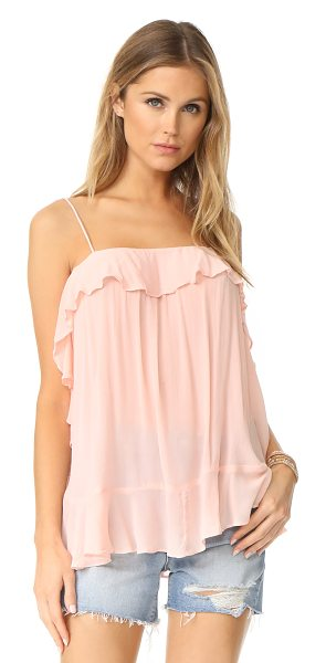 Free People cascades cami in pink - A voluminous Free People cami with charming ruffles at...