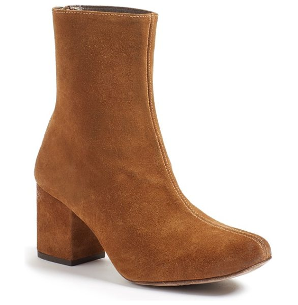 Free People cecile block heel bootie in brown suede - Add a bit of retro attitude to your everyday style with...