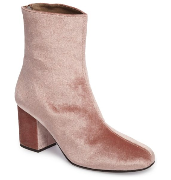 Free People cecile block heel bootie in rose - Add a bit of retro attitude to your everyday style with...