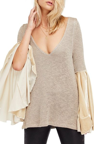 Free People celestial bell sleeve sweater in neutral combo - Turn up the drama while staying incredibly comfy in this...