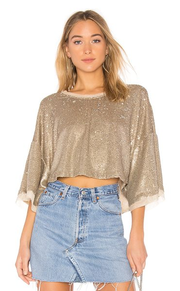 Free People Champagne Dreams Tee in metallic silver - 100% nylon. Hand wash cold. Sequined throughout. Sheer...