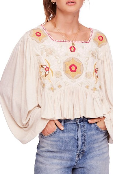 Free People claudine peasant top in nude - You may not be able to star in a fairy tale, but this...