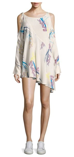 Free People floral-print tunic dress in neutral - Chic tunic dress in elevated tie-accent floral detail....