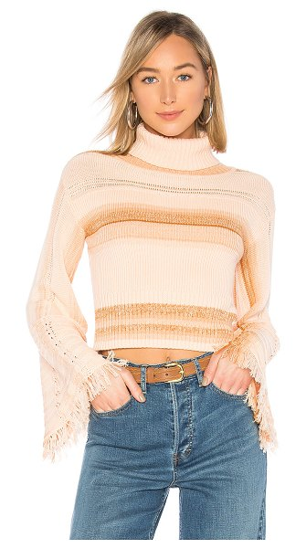 Free People Close To Me Pullover in peach - Cotton blend. Rib knit fabric. Foldover neckline. Flared...