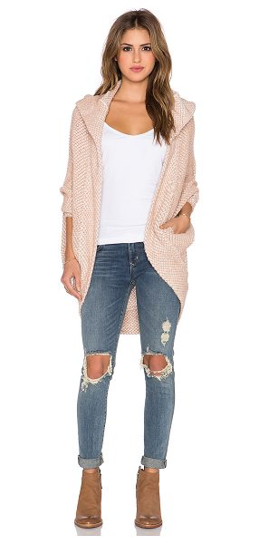 Free People Coco cocoon cardigan in blush - 49% acrylic 28% cotton 23% wool. Hand wash cold. Open...