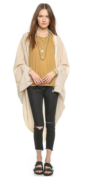 FREE PEOPLE Cocoon wrap in oatmeal - A soft Free People wrap, styled with contrast trim and...