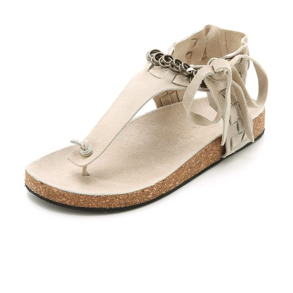Free People Collins sandals in stone - A soft, molded cork footbed lends all day comfort to...