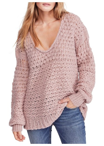 Free People crashing waves pullover in pink - The textured open-weave knit of this oversized, slouchy...