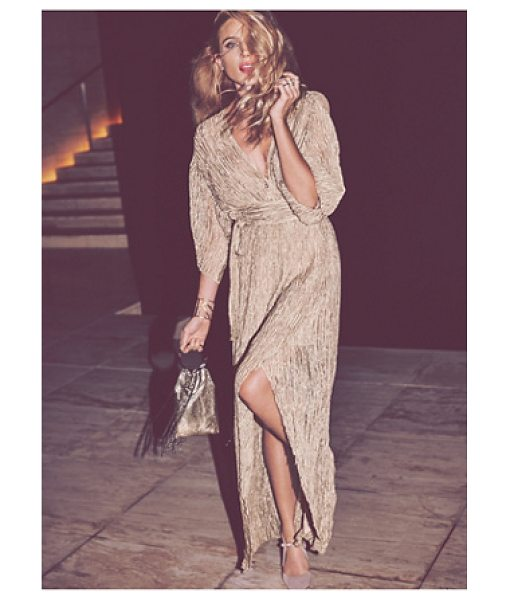 FREE PEOPLE Crinkle silk wrap - Ethereal sheer crinkly silk maxi wrap dress featuring a...