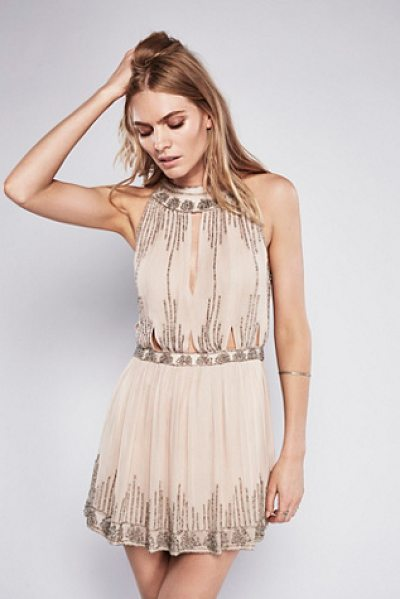 Free People Dancing with diamonds top in champagne
