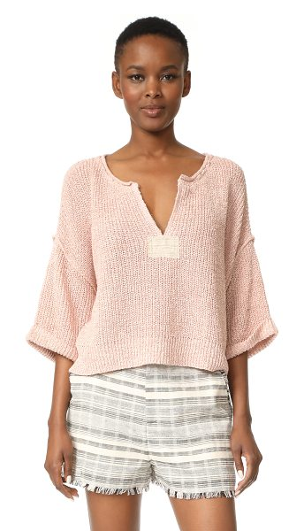 Free People daybreak sweater in rose - Patches of canvas add a casual touch to this cropped...